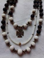 """Комплект: Серьги и Ожерелье из белого коралла с кулоном """"Ангелочек"""""""