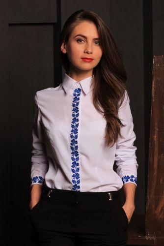 Вышитая рубашка - Клевер синяя