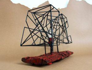 Лампи Дизайнерська настільна лампа із поєднанням дерева та заліза. Industrial style. Ручна робота
