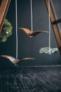 Лампи Дерев`яний світильник, дизайн птаха. Ручна робота. Дизайнерська люстра (розмір птаха стандарт В)