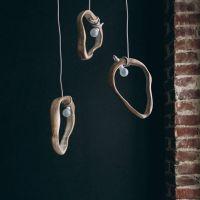 Деревянный подвесной светильник из дубовых колец. Дизайнерская люстра Арт Деко. Ручная работа