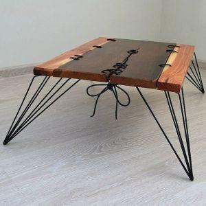 Меблі ручної роботи Журнальний стіл з оригінальним дизайном поєднання дерева та заліза. Столик ручної роботи. Handmade coffee table