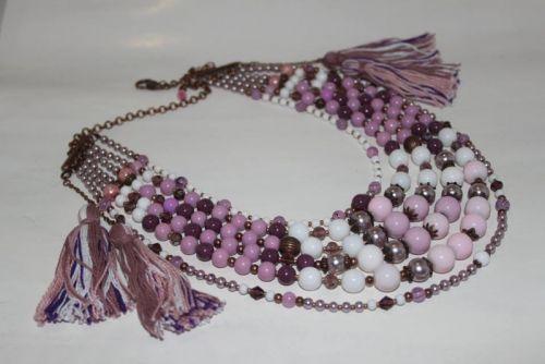 Ожерелье розовое с кистями