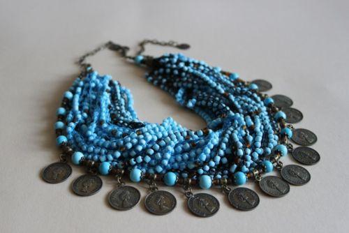 """Монисто бісерне  з монетками """"Блакитні коралі"""""""