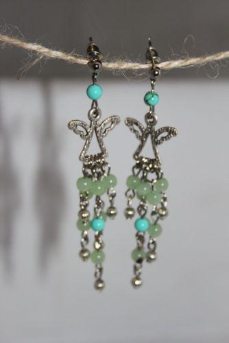 Серьги-ангелочки (зелено-голубые)
