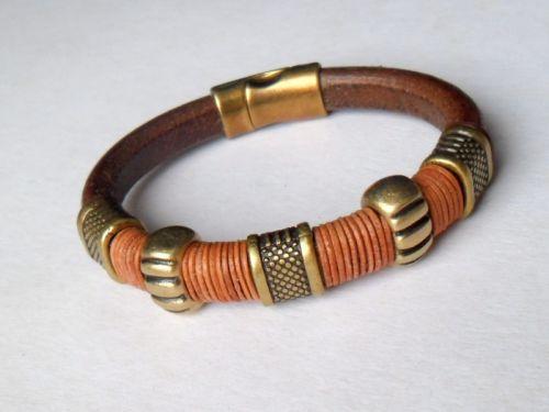 Кожаный мужской браслет Brass