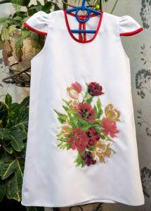Детские вышиванки Платье для девочки Букет Цветов от 3 до 10 лет