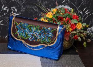 Жіночі клатчі ручної роботи Клатч Блакитні лілії