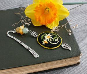Разное Оригинальная закладка для книг Металлическая закладка с агатом и ониксом Именной подарок для мамы