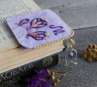 Оригинальная книжная закладка уголок Фиолетовая именная закладка с аметистом и цитрином Именной подарок