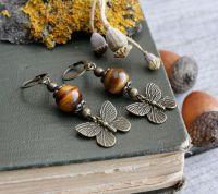 Коричневые серьги с тигровым глазом Сережки бабочки Осенние украшения в подарок
