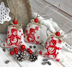 Разное Набор Ёлочная игрушка в стиле эко с ручной вышивкой и лавандой Снеговики