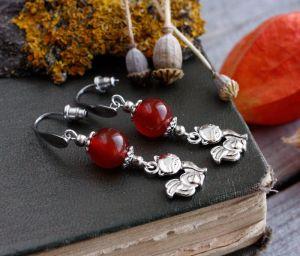Серьги ручной работы Оранжевые серьги лисички Серьги с сердоликом Осенние украшения с лисами