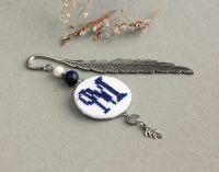 Закладка мужская Именная закладка с подвеской буквой Лазурит, вышивка