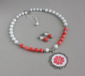 Акции Розовое ожерелье из коралла и агата Украинские бусы под вышиванку Серьги в подарок