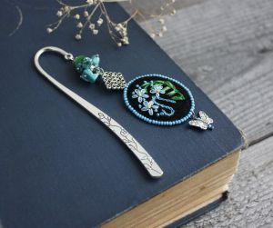 Разное Именная закладка для книг с камнями Незабудки Именной подарок для книголюба