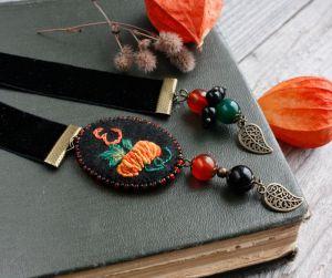 Разное Оригинальная именная закладка с натуральными камнями Тыква Подарок на день учителя