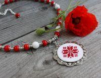 Бусы из красного коралла Красное коралловое ожерелье с подвеской Свадебное колье с медальоном