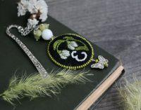 Оригинальная книжная закладка с агатом Именная закладка для книг Подснежники
