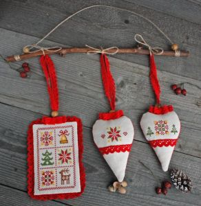Разное Набор рождественских украшений для дома или елки Текстильные елочные игрушки с лавандой Скандинавский стиль