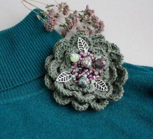 Брошки ручної роботи Зелена брошку квітка Бордова велика брошка на пальто шаль палантин шапку