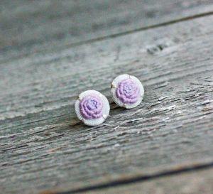 Прикраси ручної роботи Бузкові сережки гвоздики з трояндочками Ніжні сережки