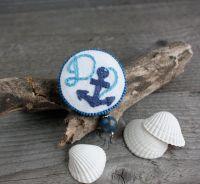 Синяя брошь якорь Именная морская брошка бохо с лазуритом Именной подарок для девушки