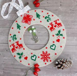 Разное Большая новогодняя подвеска венок Елочное украшение скандинавский стиль Рождественский декор