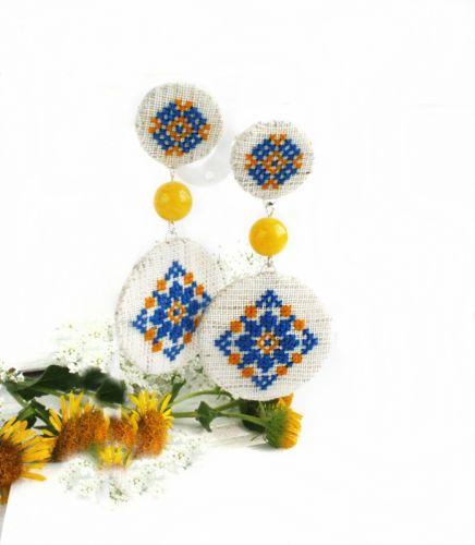 Сережки двоярусні диски Українські