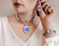 Голубой набор украшений для невесты Колье чокер, серьги, браслет