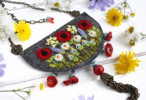 Прикраси ручної роботи Великий кулон бохо з польовими квітами, імітація бірюзи, науральний корал