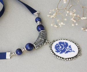 Ожерелье из лазурита Темно-синее колье чокер с лазуритом Утро у моря