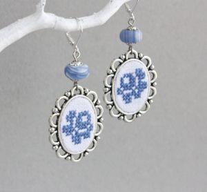 Коцкулич Тетяна Довгі ніжно блакитні сережки з агатом у стилі ретро