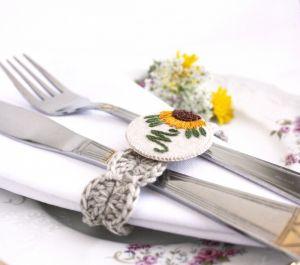 Разное Кольца на салфетки с подсолнухами, персонализированные Лен, ручная вышивка
