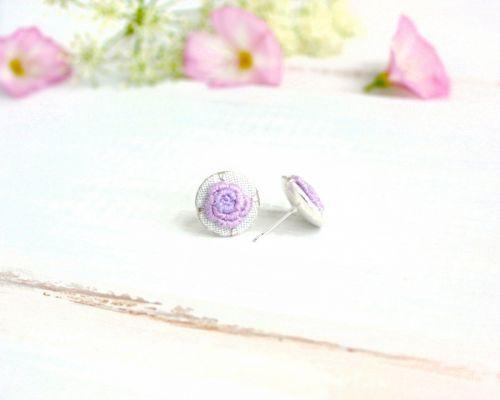 Сережки цвяшки з трояндочками Бузкова ніжність