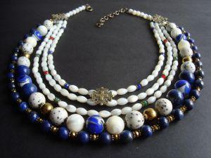 Ожерелье из пирита  Ожерелье перламутровый с лазуритом