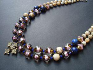Ожерелье из пирита Цвет розы