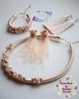 Кольє-джгут, браслет,  сережки-кисті та сережки зі страусиного пір'я