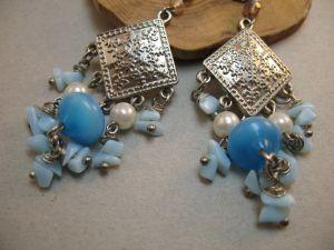 Earrings Ромб з голубим камінням
