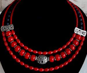 """Ожерелье из кораллов Ожерелье-чокер """"Красные маки"""""""