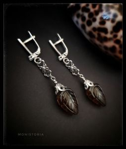 Серьги ручной работы Серебряные серьги с листиками раухтопаза