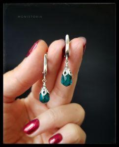 Cережки з зеленим каменем Срібні сережки з бріолетами кварцу