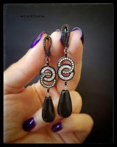 Чёрные сережки Серьги с черным агатом