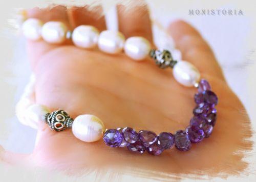 Ожерелье с александритом и жемчугом