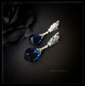 Серебряные серьги с синим камнем Серебряные серьги с кварцем цвета Лондон блю