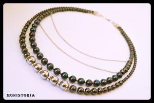 Ожерелье и серьги из гематита и перламутра с цветным покрытием