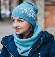 """Вязаный набор """"Снежный"""" - шапка и снуд"""