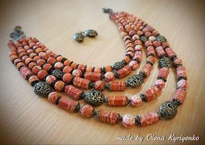 Буси ручної роботи Коралове намисто
