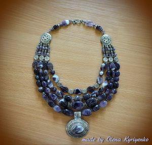 Ожерелье ручной работы Бусы из аметиста