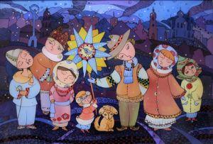 Нарисованные картины Рождество в городе